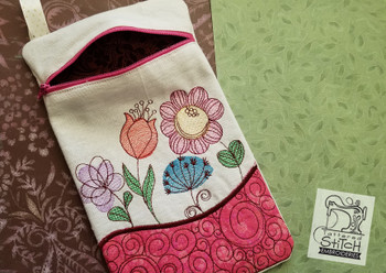 Spring Flowers Zip Bag With Lining - Embroidery Designs