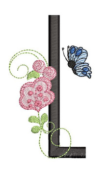 Rosebud Butterfly Font ABCs - L - Embroidery Designs