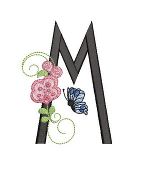Rosebud Butterfly Font ABCs - M - Embroidery Designs