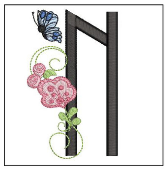 Rosebud Butterfly Font ABCs - N - Embroidery Designs