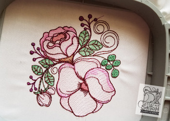 "Rose Floral - Machine Embroidery Design. 4 x 4 and 5 x 7"" hoop. Instant Download. Water color style stitching. Light Fill stitching."