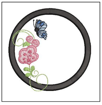 Rosebud Butterfly Font ABCs - O - Embroidery Designs