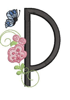 Rosebud Butterfly Font ABCs - P - Embroidery Designs