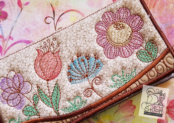 """Spring Flowers Checkbook Cover - In the Hoop  - Machine Embroidery Design. 6 x 11"""" Hoop Instant Download."""