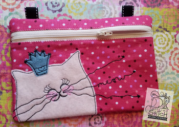 Crowned Kitty Zip Bag With Lining - Embroidery Designs