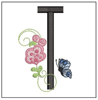 Rosebud Butterfly Font ABCs - T - Embroidery Designs