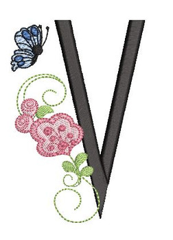 Rosebud Butterfly Font ABCs - V - Embroidery Designs