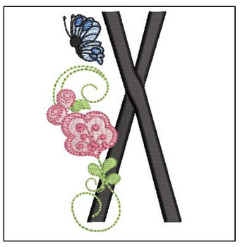 Rosebud Butterfly Font ABCs - X - Embroidery Designs