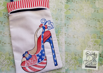 "Patriotic Pump Zip Bag - In the Hoop  - Machine Embroidery Design. 6x10"" Hoop Instant Download. Zipper Bag - WITH LINING"