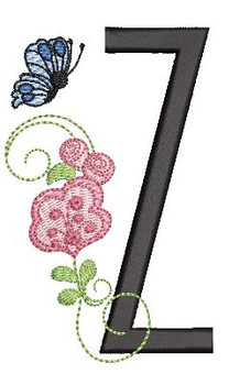Rosebud Butterfly Font ABCs - Z - Embroidery Designs