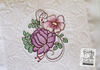 """Dahlia Cluster Quilt Block- Machine Embroidery Design.  5x5, 6x6 and 8x8"""" In the Hoop Quilt Block Instant Download."""