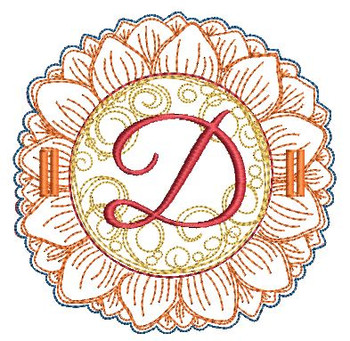 Sunflower Applique ABCs - D - Applique - Embroidery Designs