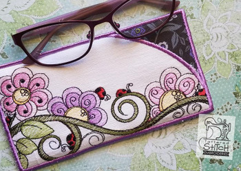 "Ladybugs Glasses Case -Machine Embroidery Design. 5 x 7"" Hoop. Instant Download."