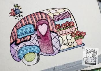 """Canned Ham Camper- Machine Embroidery Design.  4 x 4 & 5 x 7"""" hoop. Instant Download. Water color style stitching. Light Fill stitching."""