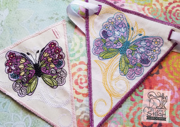 Butterfly Bunting - Machine Embroidery Design.  4x4, 5x7 and 6x11 In the Hoop - Instant Download.