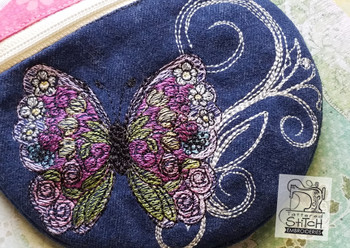 Butterfly Round Zipper Bag - In the Hoop  - Machine Embroidery Design. 5x7 Hoop Instant Download. Zipper Bag - WITH LINING