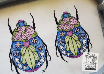 Stained Glass Scarab Beetle - Embroidery Designs