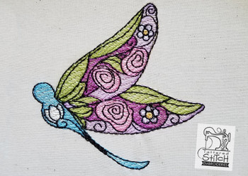 Stained Glass Dragonfly - Embroidery Designs