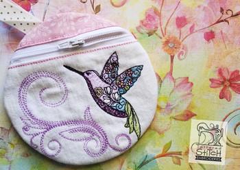 Hummingbird Earbuds Zipper Bag - In the Hoop  - Machine Embroidery Design. 5x7 Hoop Instant Download. Zipper Bag - WITH LINING