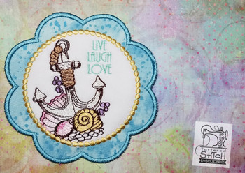 Live, Laugh, Love Anchor Coaster - Machine Embroidery Design. 5x7 In The Hoop Instant Download