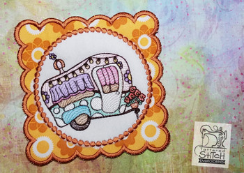 Vintage Camper 2 Coaster - Machine Embroidery Design. 5x7 In The Hoop Instant Download
