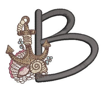 Nautical Font - Anchor B - Embroidery Design