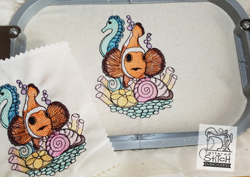 Clown Fish - Machine Embroidery Design. 4x4 & 5x7 hoop. Instant Download. Water color style stitching