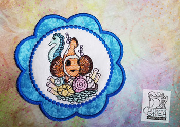 Clown Fish Coaster - Machine Embroidery Design. 5x7 In The Hoop Instant Download
