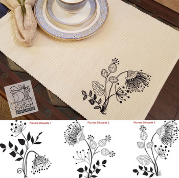 30% Off - Floral Silhouette's 1, 2 & 3 Redwork Bundle