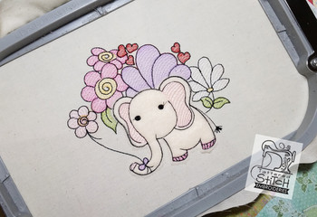"Baby Ellie Applique - Machine Embroidery Design. 4x4 & 5x7"" hoop. Instant Download."