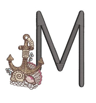 Nautical Font - Anchor M - Embroidery Design