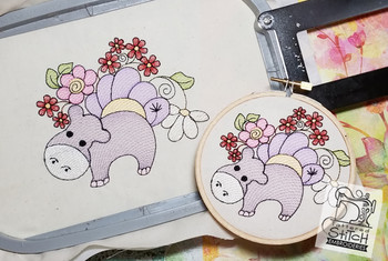 "Baby Hippo - Machine Embroidery Design. 4x4 & 5x7"" hoop. Instant Download."