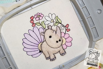 "Baby Rhino Applique - Machine Embroidery Design. 4x4 & 5x7"" hoop. Instant Download."