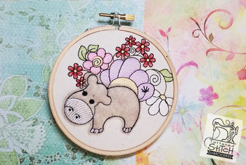"Baby Hippo Applique - Machine Embroidery Design. 4x4 & 5x7"" hoop. Instant Download."