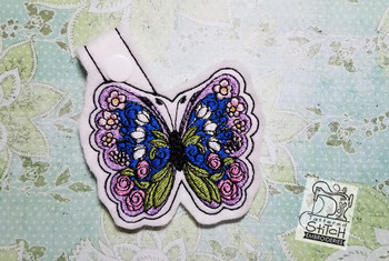 Butterfly Key Chain - Machine Embroidery Design. 5x7 In The Hoop Instant Download