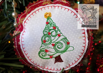 Christmas Tree Ornament - Machine Embroidery Design. 4x4 In The Hoop Instant Download. In the hoop. Whimsical Tree Holiday Gift Giving