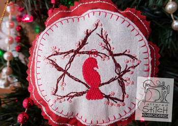 Rustic Partridge Ornament - Machine Embroidery Design. 4x4 In The Hoop Instant Download. In the hoop. Partridge Star. Holiday Gift Giving