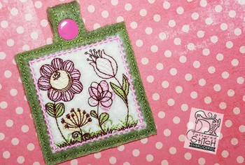 Spring Flowers Key Chain - Machine Embroidery Design. 5x7 In The Hoop Instant Download