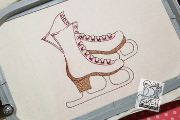 Ice Skates 4x4 and 5x7 Hoop, Machine Embroidery Pattern - Instant Download - Light Fill Stitch