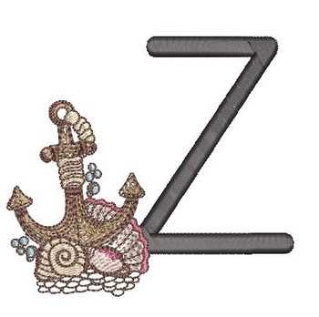 Nautical Font - Anchor Z - Embroidery Design