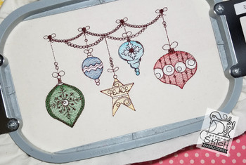 """Dangling Ornaments 5x7 & 6x11"""" Hoop, Machine Embroidery Pattern - Instant Download - Light Fill Stitch"""