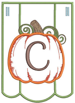 Pumpkin Bunting Alphabet Font - C - Embroidery Designs