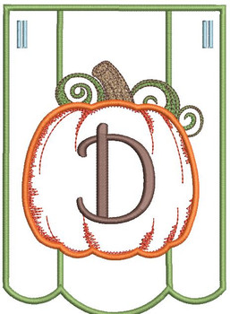 Pumpkin Bunting Alphabet Font - D - Embroidery Designs