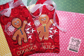 "Gingerbread Man Gift Bag - 6x11"" Hoop, Machine Embroidery Pattern - Instant Download - Light Fill Stitch"