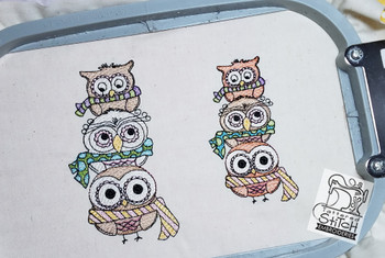"""Winter Owl Trio 4x4 & 5x7"""" Hoop, Machine Embroidery Pattern - Instant Download - Light Fill Stitch"""