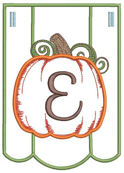 Pumpkin Bunting Alphabet Font - E - Embroidery Designs