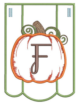Pumpkin Bunting Alphabet Font - F - Embroidery Designs