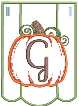 Pumpkin Bunting Alphabet Font - G - Embroidery Designs