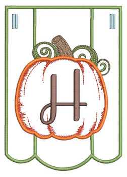 Pumpkin Bunting Alphabet Font - H - Embroidery Designs