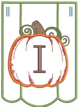 Pumpkin Bunting Alphabet Font - I - Embroidery Designs